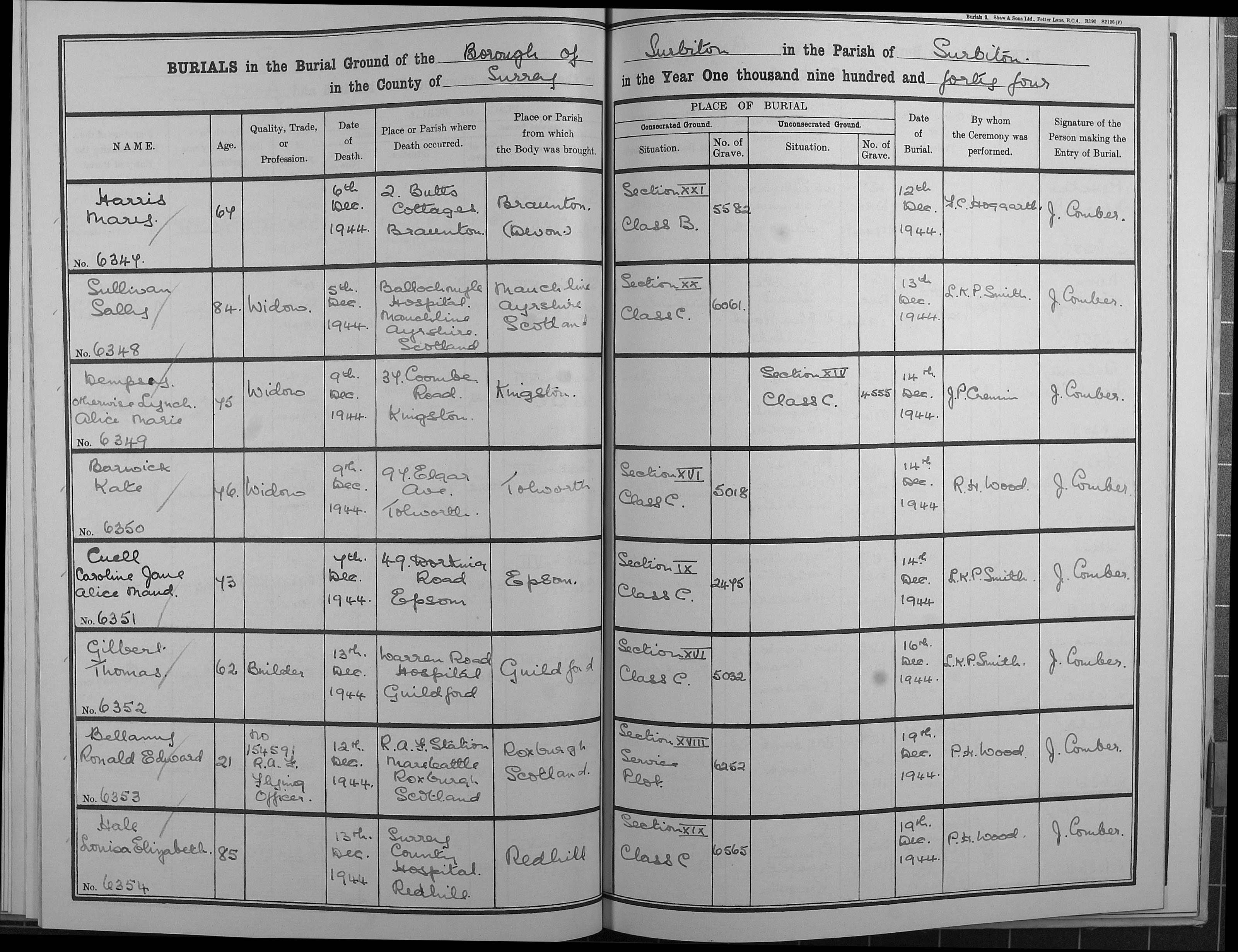Burial records - Gilbert, Thomas | The Royal Borough of